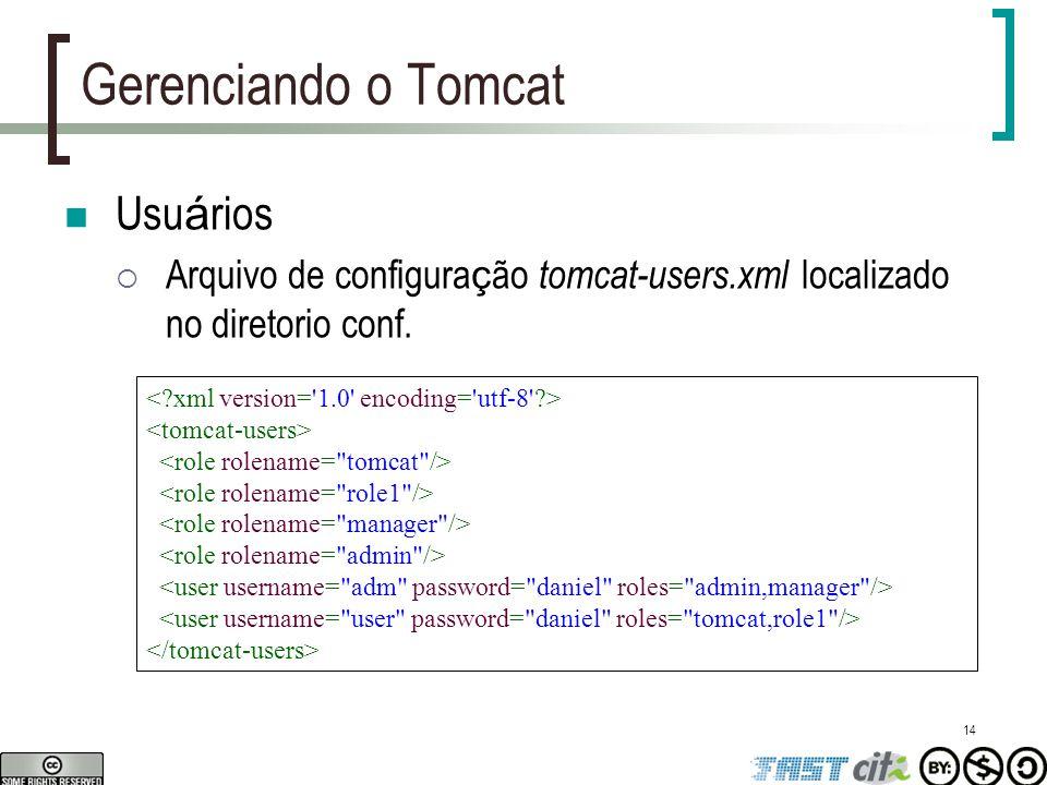 14 Gerenciando o Tomcat Usu á rios  Arquivo de configura ç ão tomcat-users.xml localizado no diretorio conf.