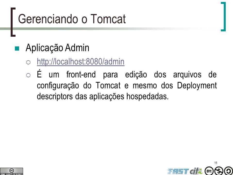 15 Gerenciando o Tomcat Aplicação Admin  http://localhost:8080/admin http://localhost:8080/admin  É um front-end para edição dos arquivos de configu