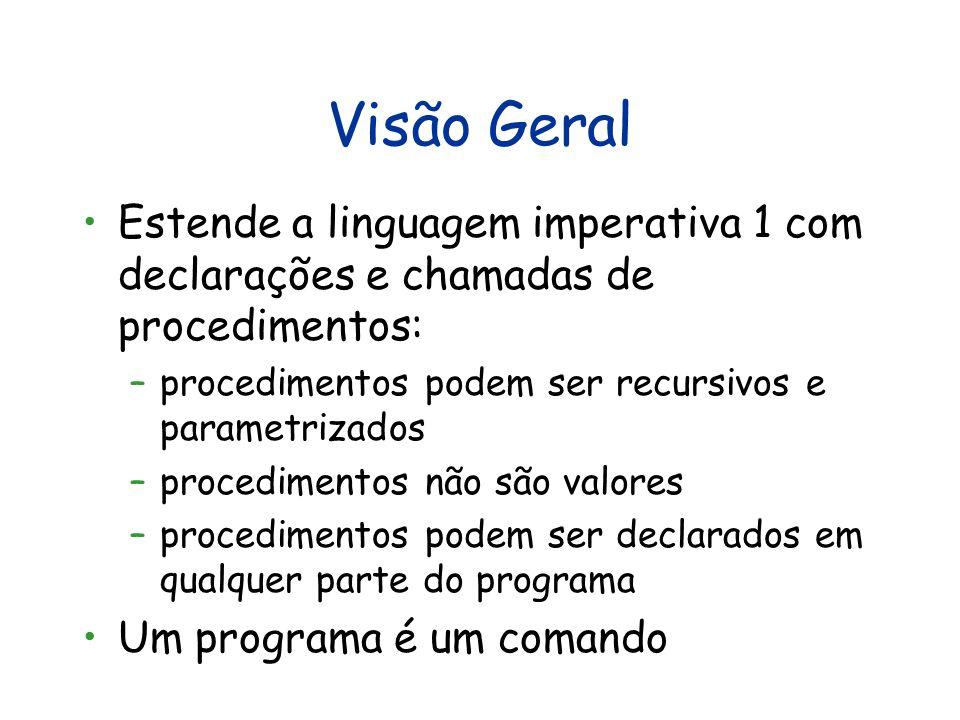 Visão Geral Estende a linguagem imperativa 1 com declarações e chamadas de procedimentos: –procedimentos podem ser recursivos e parametrizados –proced