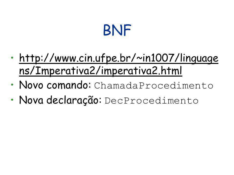 BNF http://www.cin.ufpe.br/~in1007/linguage ns/Imperativa2/imperativa2.htmlhttp://www.cin.ufpe.br/~in1007/linguage ns/Imperativa2/imperativa2.html Novo comando: ChamadaProcedimento Nova declaração: DecProcedimento