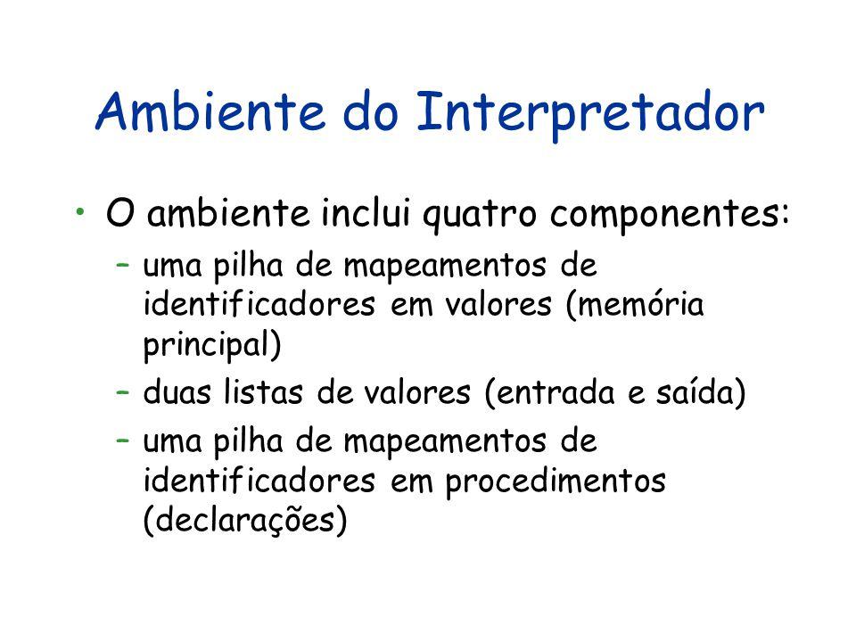 Ambiente do Interpretador O ambiente inclui quatro componentes: –uma pilha de mapeamentos de identificadores em valores (memória principal) –duas list