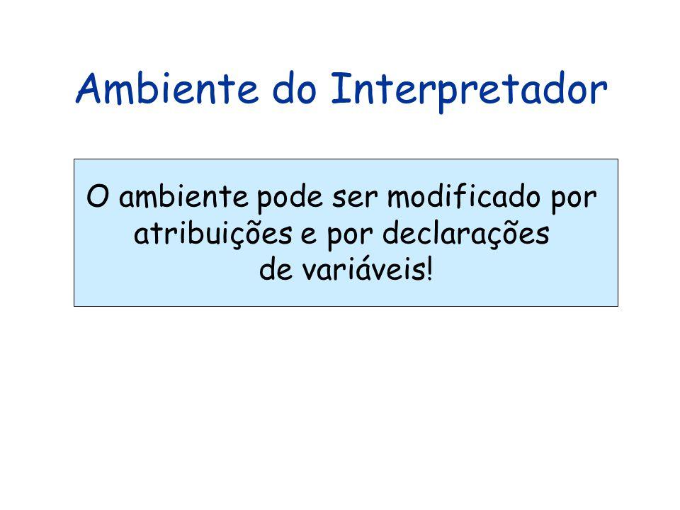 Ambiente do Interpretador O ambiente pode ser modificado por atribuições e por declarações de variáveis!