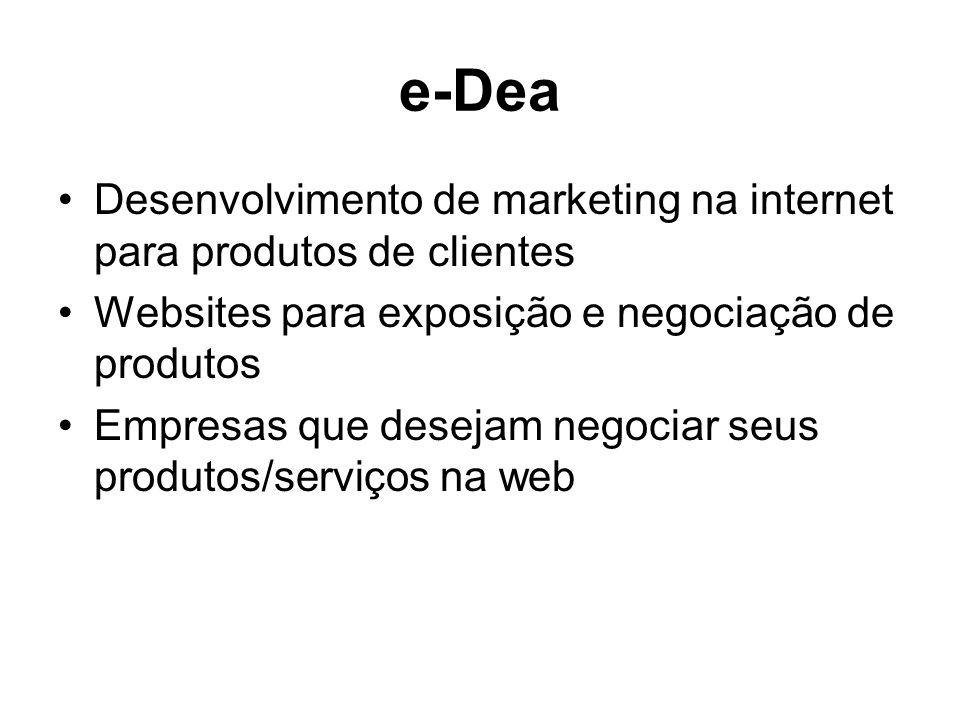 e-Dea Desenvolvimento de marketing na internet para produtos de clientes Websites para exposição e negociação de produtos Empresas que desejam negociar seus produtos/serviços na web