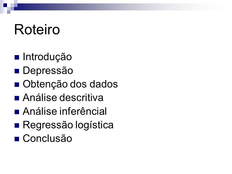 Introdução Pesquisa de iniciação científica:  Realizada na secretaria de saúde de Pernambuco  Somente mulheres Motivação  Verificar se existe associação entre a depressão e variáveis como faixa etária, estado civil, escolaridade, etc.