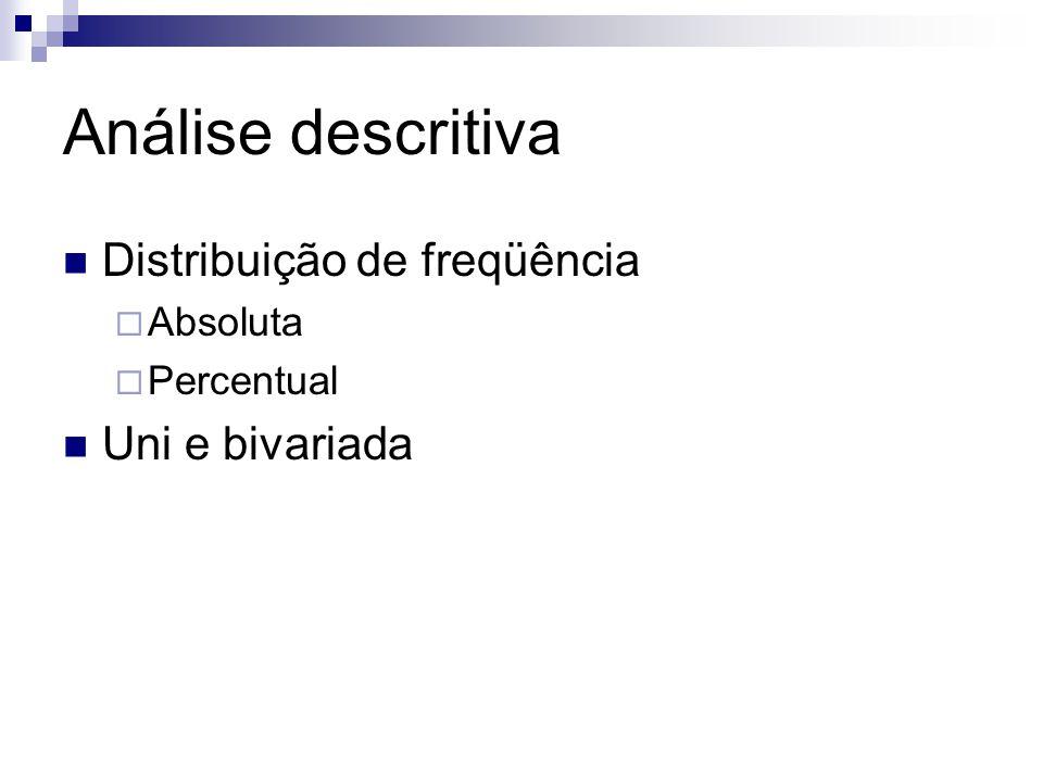 Análise descritiva Distribuição de freqüência  Absoluta  Percentual Uni e bivariada