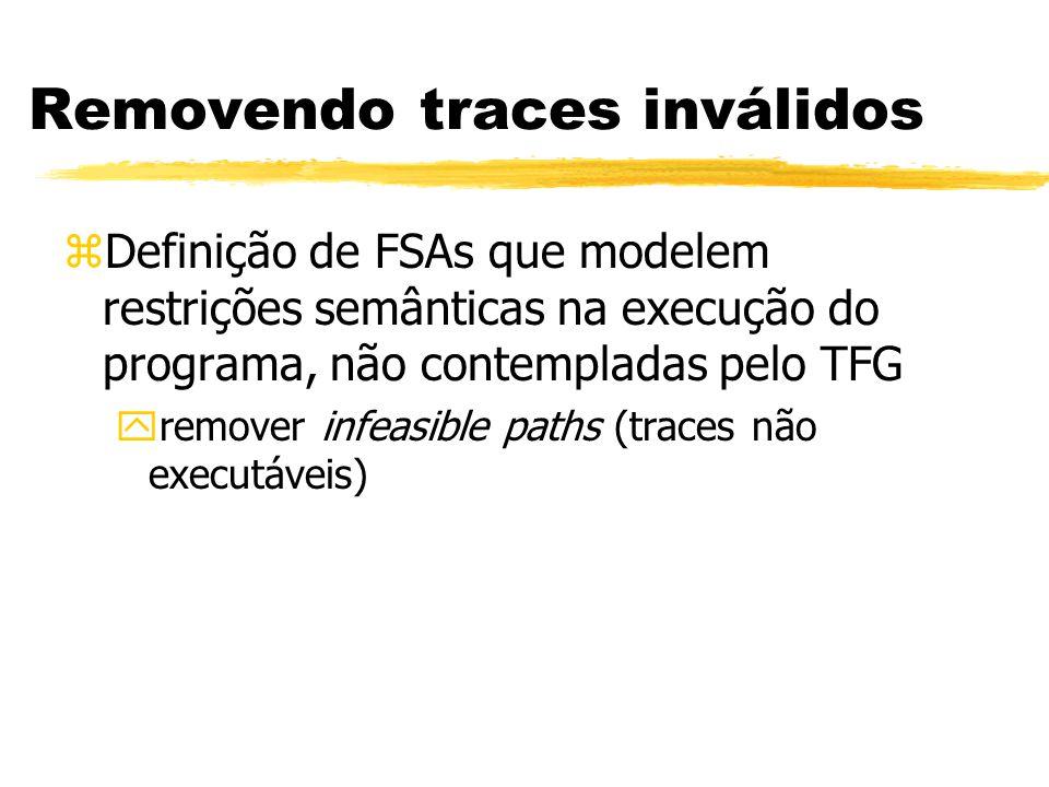 zDefinição de FSAs que modelem restrições semânticas na execução do programa, não contempladas pelo TFG yremover infeasible paths (traces não executáveis) Removendo traces inválidos