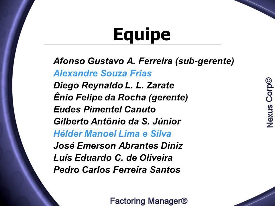 Equipe Afonso Gustavo A. Ferreira (sub-gerente) Alexandre Souza Frias Diego Reynaldo L. L. Zarate Ênio Felipe da Rocha (gerente) Eudes Pimentel Canuto