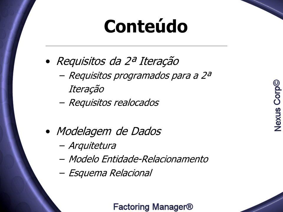 Conteúdo Requisitos da 2ª Iteração –Requisitos programados para a 2ª Iteração –Requisitos realocados Modelagem de Dados –Arquitetura –Modelo Entidade-