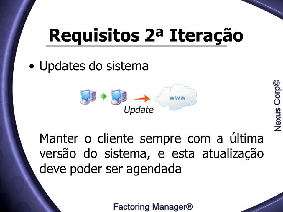 Requisitos 2ª Iteração Updates do sistema Manter o cliente sempre com a última versão do sistema, e esta atualização deve poder ser agendada