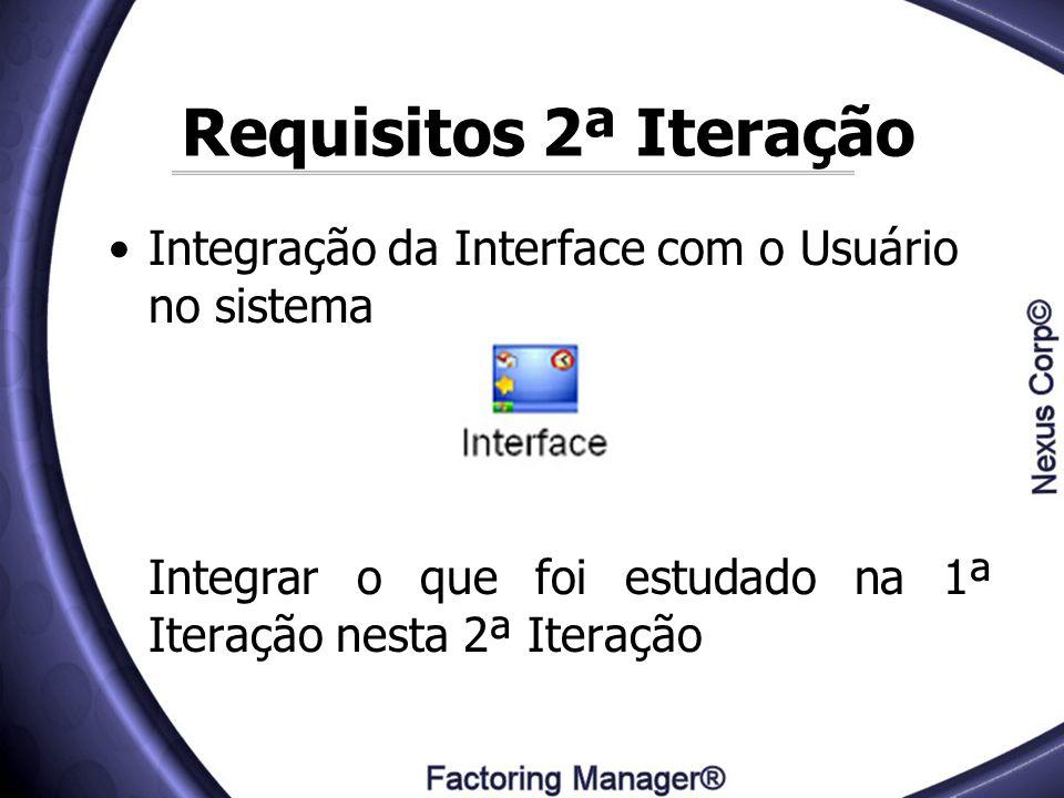 Requisitos 2ª Iteração Integração da Interface com o Usuário no sistema Integrar o que foi estudado na 1ª Iteração nesta 2ª Iteração