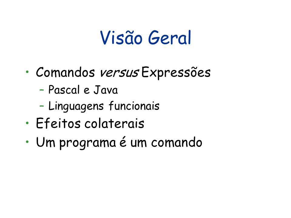 Visão Geral Comandos versus Expressões –Pascal e Java –Linguagens funcionais Efeitos colaterais Um programa é um comando