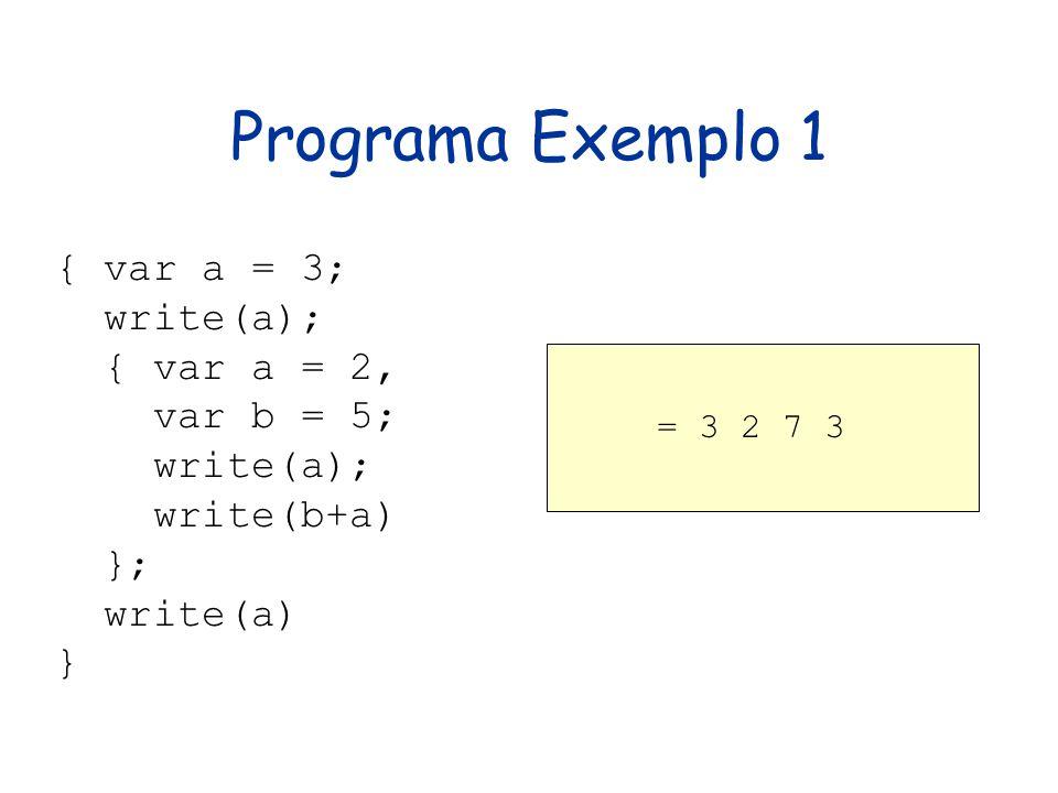 Programa Exemplo 1 { var a = 3; write(a); { var a = 2, var b = 5; write(a); write(b+a) }; write(a) } = 3 2 7 3