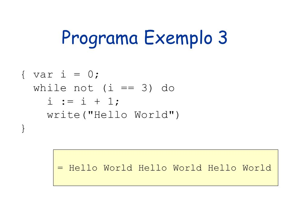 Programa Exemplo 3 { var i = 0; while not (i == 3) do i := i + 1; write(