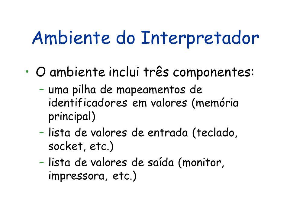 Ambiente do Interpretador O ambiente inclui três componentes: –uma pilha de mapeamentos de identificadores em valores (memória principal) –lista de valores de entrada (teclado, socket, etc.) –lista de valores de saída (monitor, impressora, etc.)