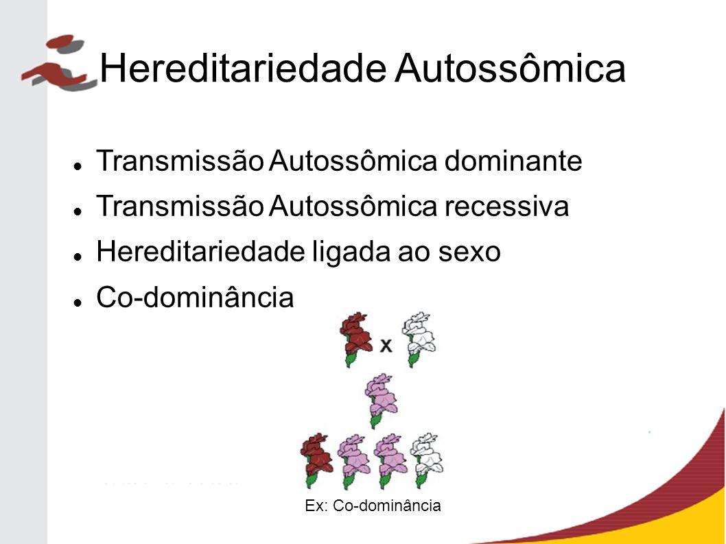 Hereditariedade Autossômica Transmissão Autossômica dominante Transmissão Autossômica recessiva Hereditariedade ligada ao sexo Co-dominância Ex: Co-do