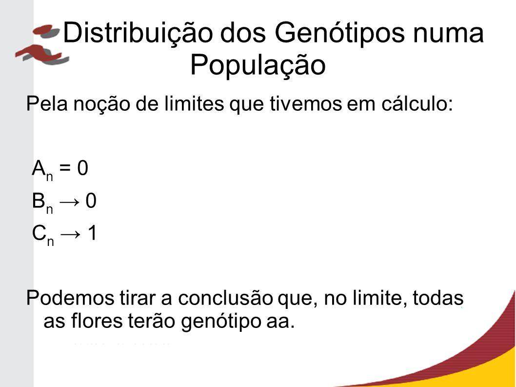 Pela noção de limites que tivemos em cálculo: A n = 0 B n → 0 C n → 1 Podemos tirar a conclusão que, no limite, todas as flores terão genótipo aa. Dis