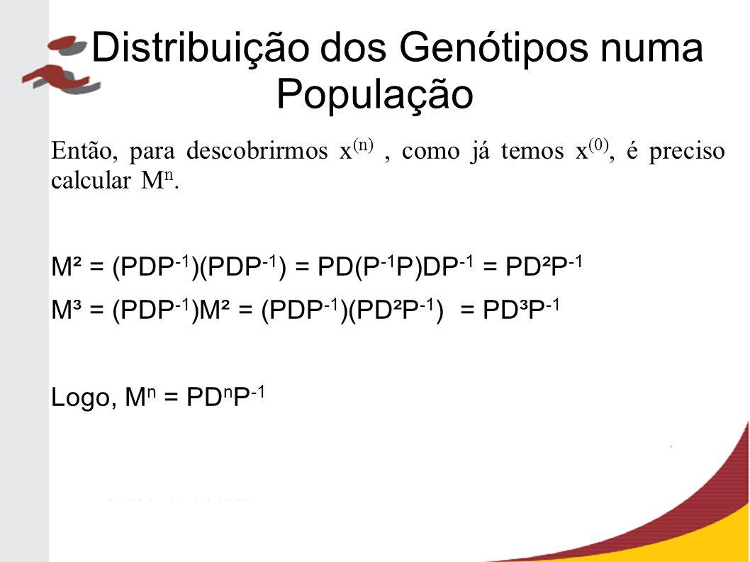 Então, para descobrirmos x (n), como já temos x (0), é preciso calcular M n. M² = (PDP -1 )(PDP -1 ) = PD(P -1 P)DP -1 = PD²P -1 M³ = (PDP -1 )M² = (P