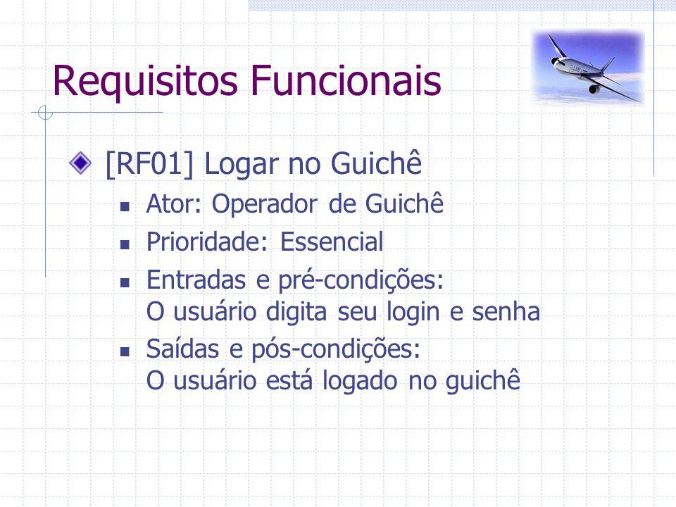 Requisitos Funcionais [RF01] Logar no Guichê Ator: Operador de Guichê Prioridade: Essencial Entradas e pré-condições: O usuário digita seu login e sen