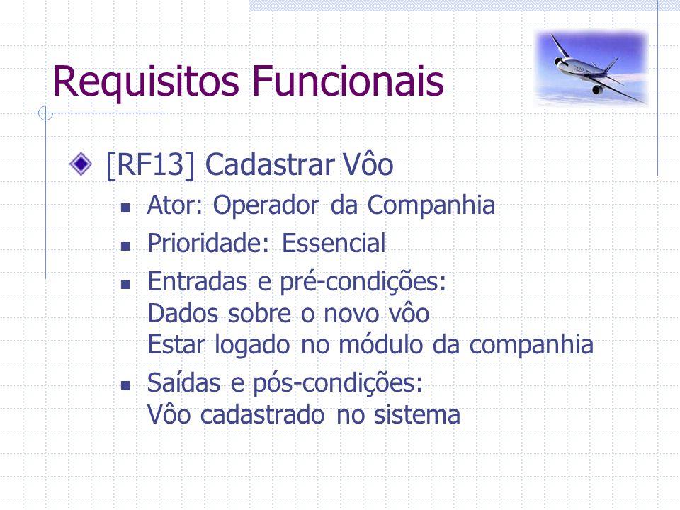 Requisitos Funcionais [RF13] Cadastrar Vôo Ator: Operador da Companhia Prioridade: Essencial Entradas e pré-condições: Dados sobre o novo vôo Estar lo