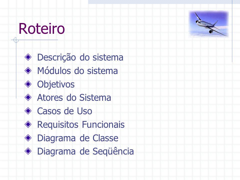 Roteiro Descrição do sistema Módulos do sistema Objetivos Atores do Sistema Casos de Uso Requisitos Funcionais Diagrama de Classe Diagrama de Seqüênci
