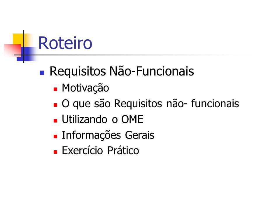 Roteiro Requisitos Não-Funcionais Motivação O que são Requisitos não- funcionais Utilizando o OME Informações Gerais Exercício Prático