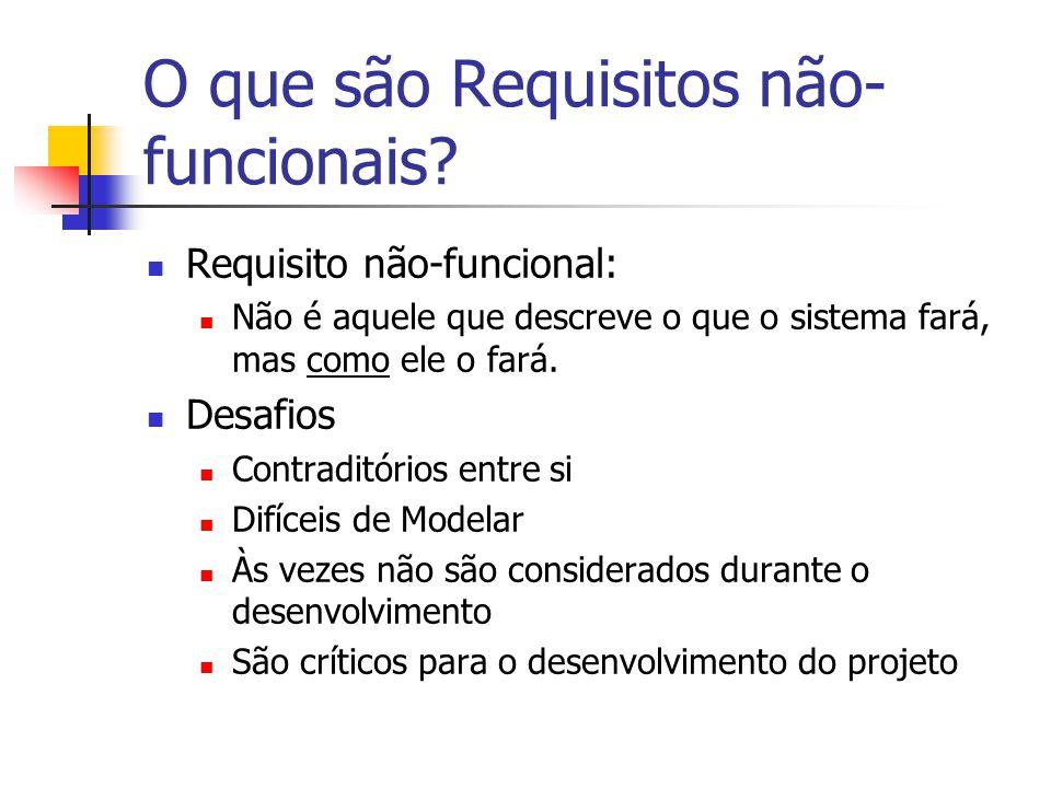 O que são Requisitos não- funcionais? Requisito não-funcional: Não é aquele que descreve o que o sistema fará, mas como ele o fará. Desafios Contradit