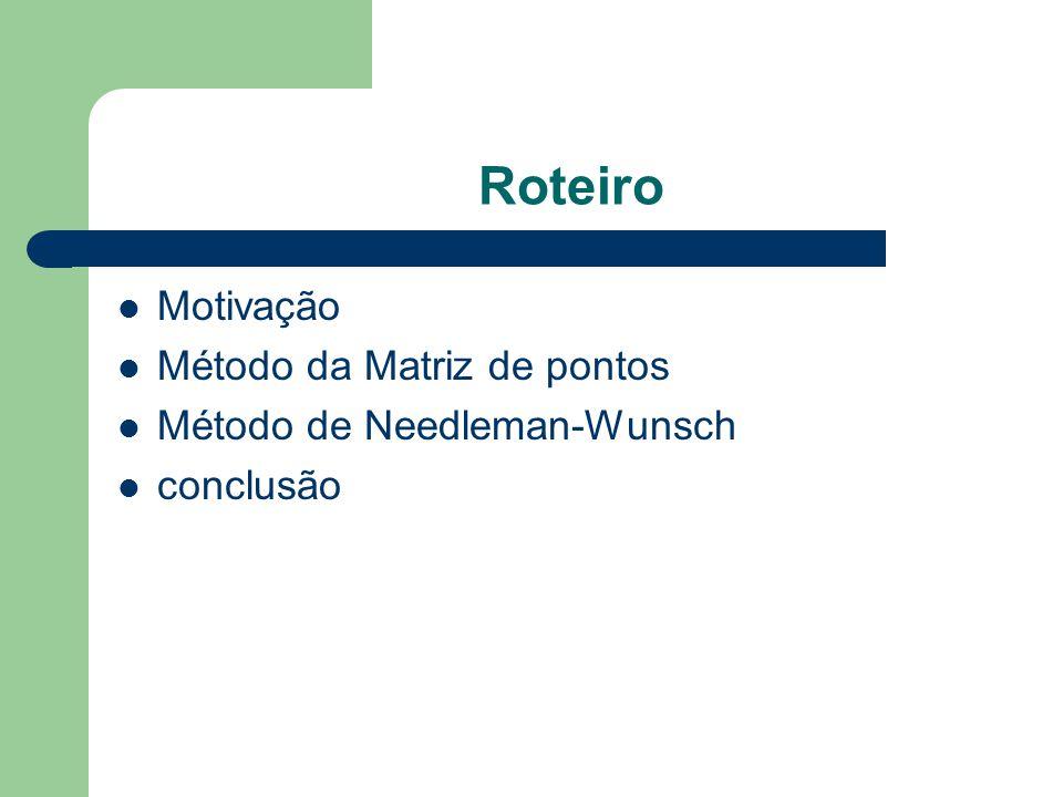 Roteiro Motivação Método da Matriz de pontos Método de Needleman-Wunsch conclusão