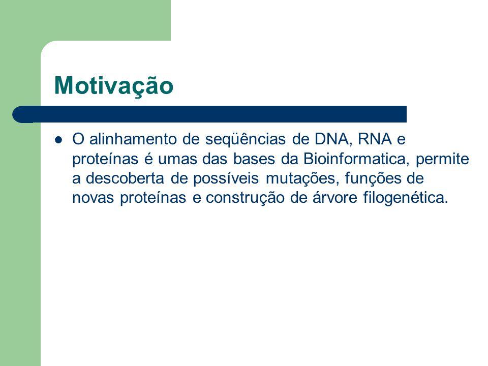Motivação O alinhamento de seqüências de DNA, RNA e proteínas é umas das bases da Bioinformatica, permite a descoberta de possíveis mutações, funções