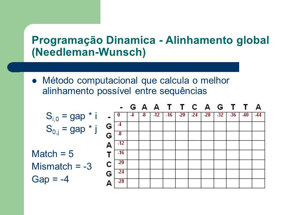Programação Dinamica - Alinhamento global (Needleman-Wunsch) Método computacional que calcula o melhor alinhamento possível entre sequências S i,0 = g