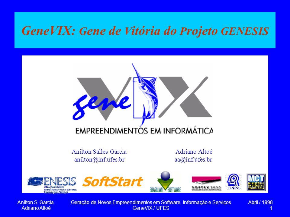 Anilton S. Garcia Adriano Altoé Geração de Novos Empreendimentos em Software, Informação e Serviços GeneVIX / UFES Abril / 1998 1 GeneVIX: G ene de V
