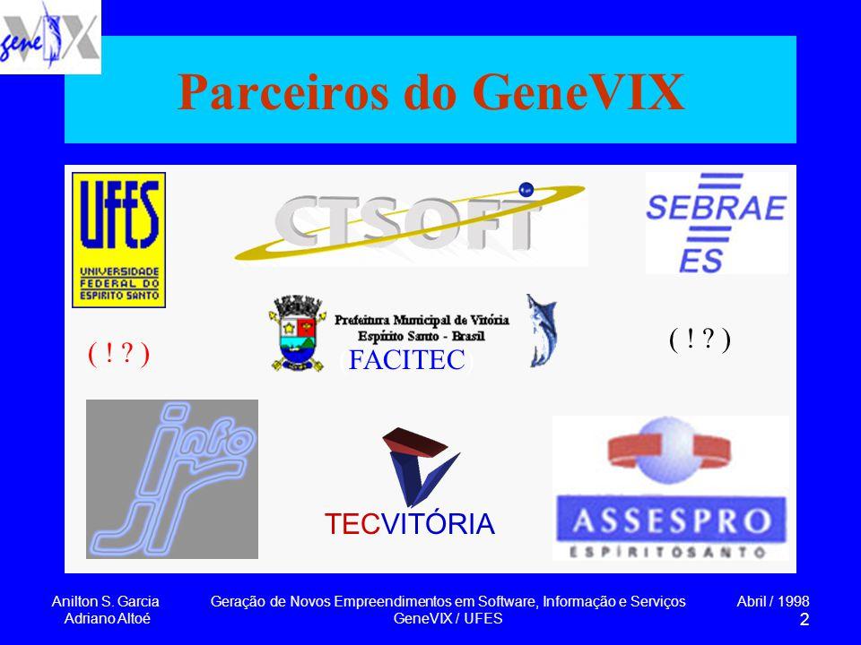 Anilton S. Garcia Adriano Altoé Geração de Novos Empreendimentos em Software, Informação e Serviços GeneVIX / UFES Abril / 1998 2 Parceiros do GeneVIX