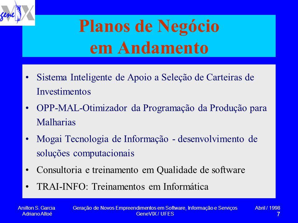 Anilton S. Garcia Adriano Altoé Geração de Novos Empreendimentos em Software, Informação e Serviços GeneVIX / UFES Abril / 1998 7 Planos de Negócio em