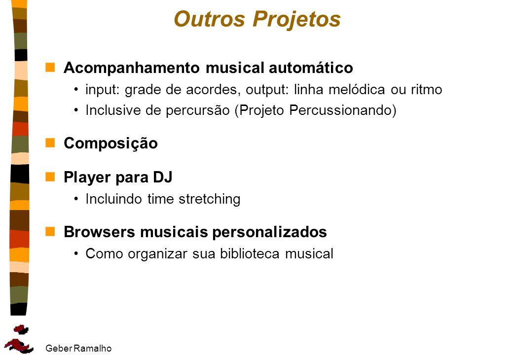 Geber Ramalho Outros Projetos nAcompanhamento musical automático input: grade de acordes, output: linha melódica ou ritmo Inclusive de percursão (Proj
