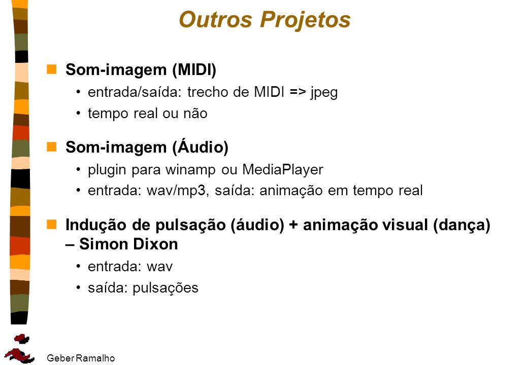 Geber Ramalho Outros Projetos nSom-imagem (MIDI) entrada/saída: trecho de MIDI => jpeg tempo real ou não nSom-imagem (Áudio) plugin para winamp ou Med