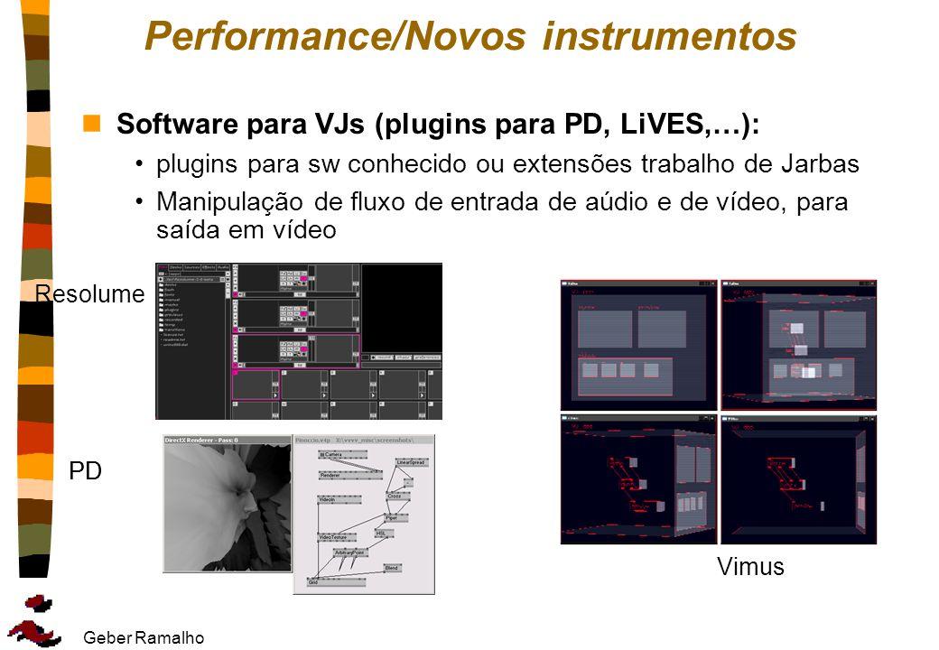 Geber Ramalho Performance/Novos instrumentos nSoftware para VJs (plugins para PD, LiVES,…): plugins para sw conhecido ou extensões trabalho de Jarbas