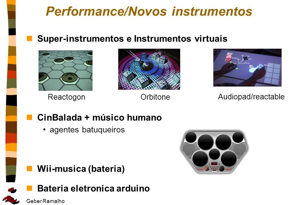 Geber Ramalho Performance/Novos instrumentos nSuper-instrumentos e Instrumentos virtuais nCinBalada + músico humano agentes batuqueiros nWii-musica (b
