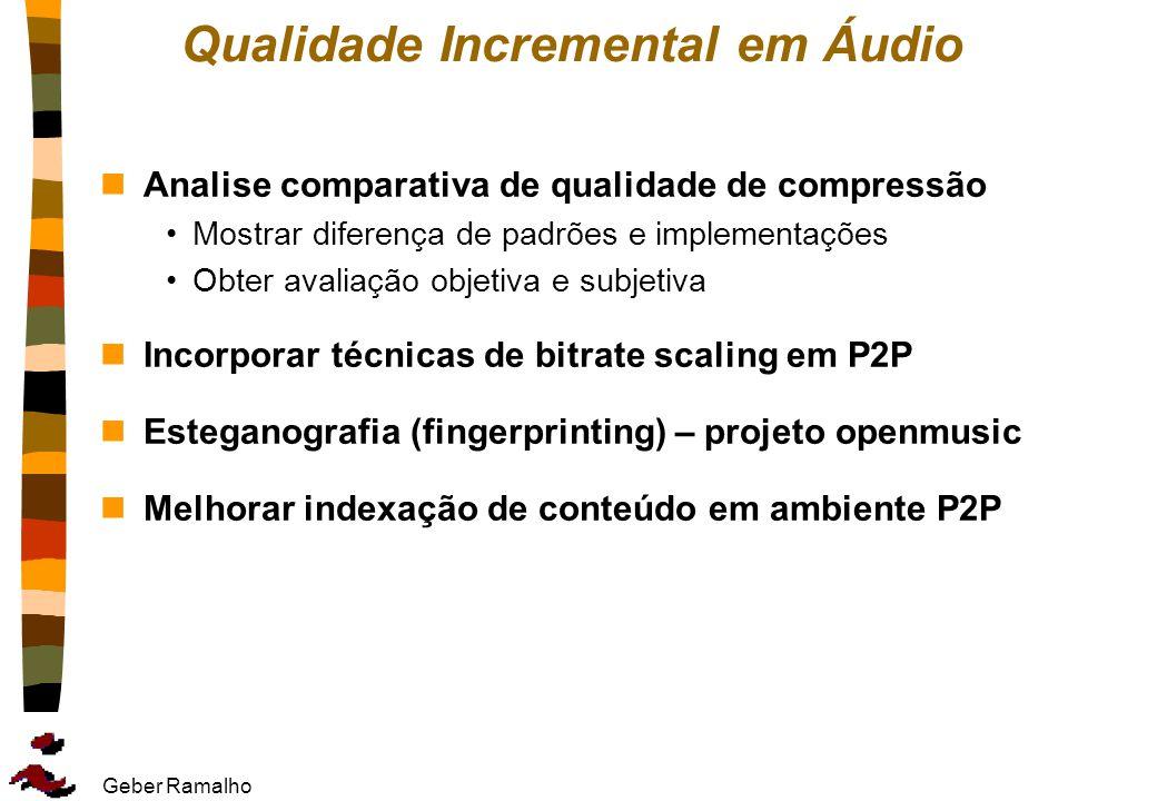 Geber Ramalho Qualidade Incremental em Áudio nAnalise comparativa de qualidade de compressão Mostrar diferença de padrões e implementações Obter avali