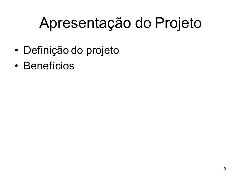 Apresentação do Projeto Definição do projeto Benefícios 3