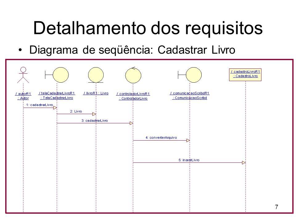 Detalhamento dos requisitos Diagrama de seqüência: Cadastrar Livro 7