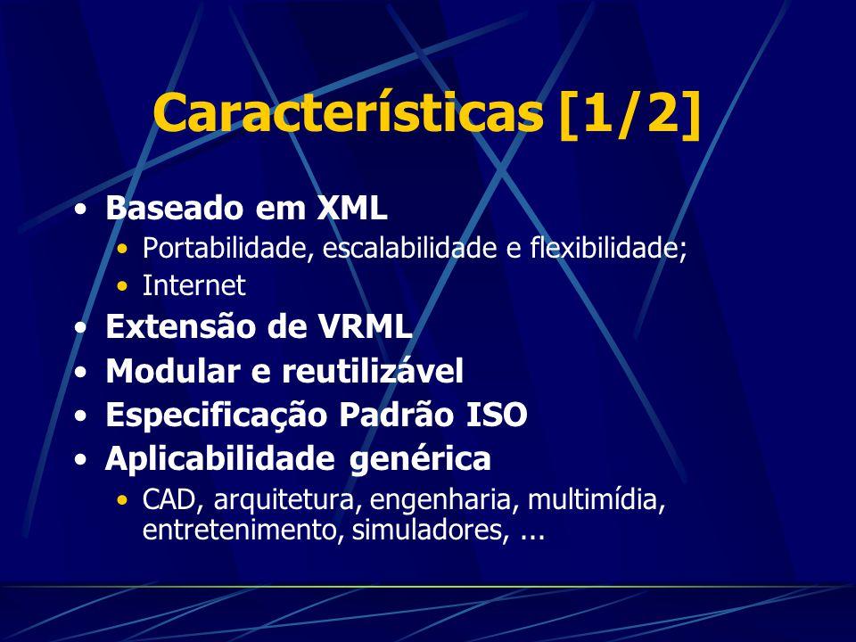 Características [1/2] Baseado em XML Portabilidade, escalabilidade e flexibilidade; Internet Extensão de VRML Modular e reutilizável Especificação Pad