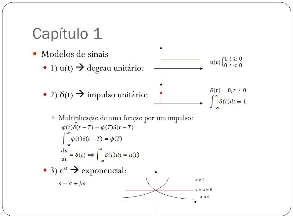 Capítulo 1 Modelos de sinais 1) u(t)  degrau unitário: 2) δ (t)  impulso unitário: Multiplicação de uma função por um impulso: 3) e st  exponencial
