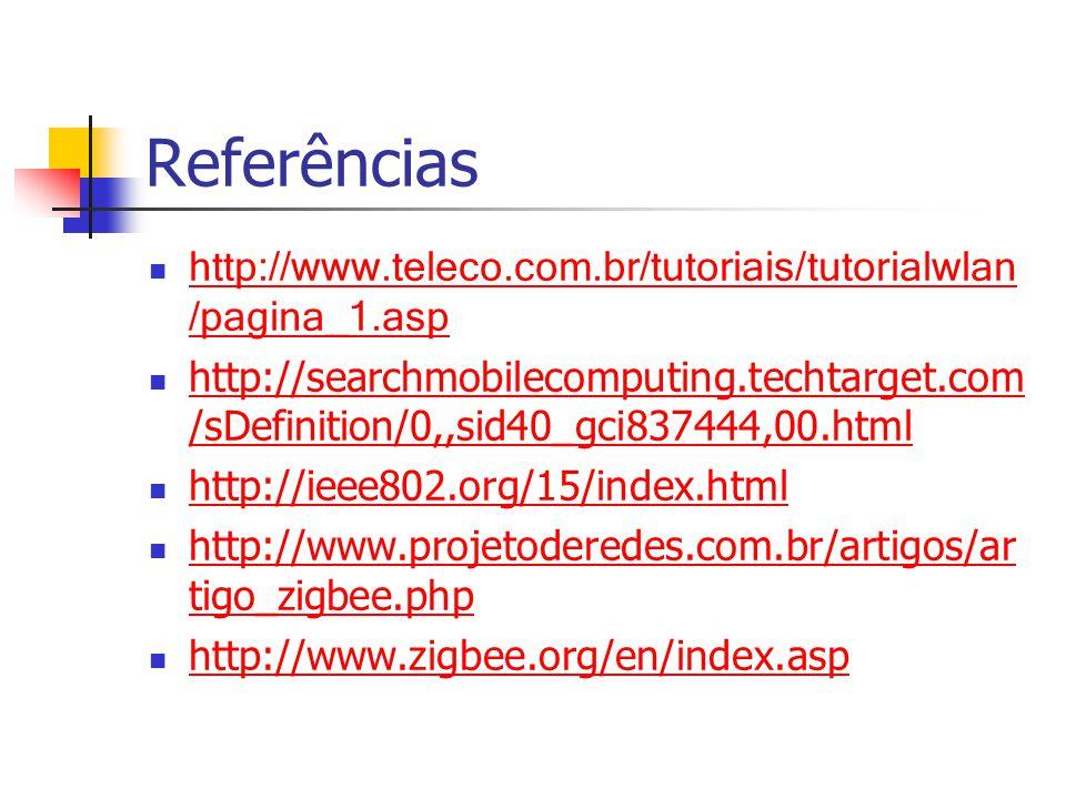 Referências http://www.teleco.com.br/tutoriais/tutorialwlan /pagina_1.asp http://www.teleco.com.br/tutoriais/tutorialwlan /pagina_1.asp http://searchmobilecomputing.techtarget.com /sDefinition/0,,sid40_gci837444,00.html http://searchmobilecomputing.techtarget.com /sDefinition/0,,sid40_gci837444,00.html http://ieee802.org/15/index.html http://www.projetoderedes.com.br/artigos/ar tigo_zigbee.php http://www.projetoderedes.com.br/artigos/ar tigo_zigbee.php http://www.zigbee.org/en/index.asp