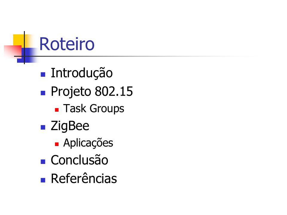 Roteiro Introdução Projeto 802.15 Task Groups ZigBee Aplicações Conclusão Referências