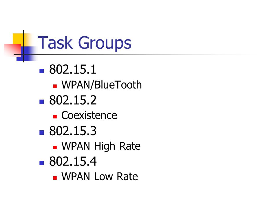 Task Groups 802.15.1 WPAN/BlueTooth 802.15.2 Coexistence 802.15.3 WPAN High Rate 802.15.4 WPAN Low Rate