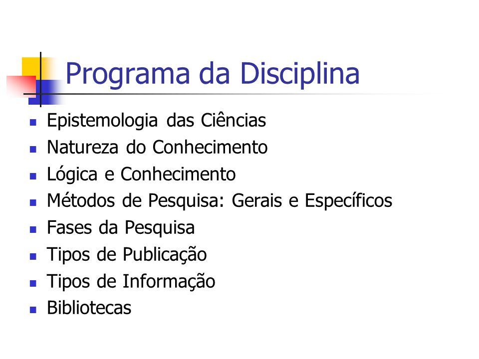 Programa da Disciplina Epistemologia das Ciências Natureza do Conhecimento Lógica e Conhecimento Métodos de Pesquisa: Gerais e Específicos Fases da Pe
