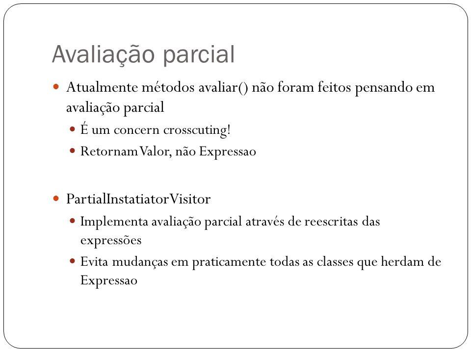 Avaliação parcial Atualmente métodos avaliar() não foram feitos pensando em avaliação parcial É um concern crosscuting! Retornam Valor, não Expressao
