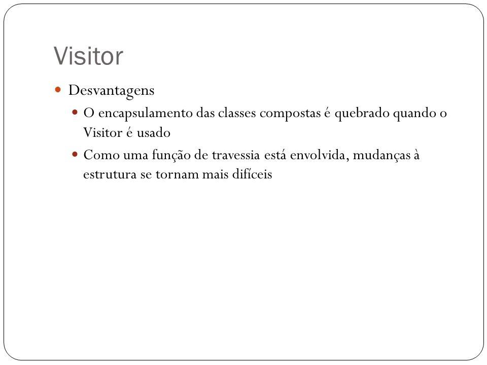 Visitor Desvantagens O encapsulamento das classes compostas é quebrado quando o Visitor é usado Como uma função de travessia está envolvida, mudanças