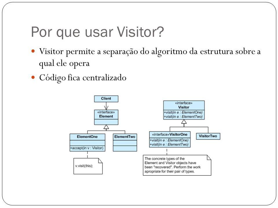 Por que usar Visitor? Visitor permite a separação do algoritmo da estrutura sobre a qual ele opera Código fica centralizado