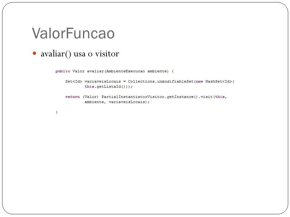 ValorFuncao avaliar() usa o visitor