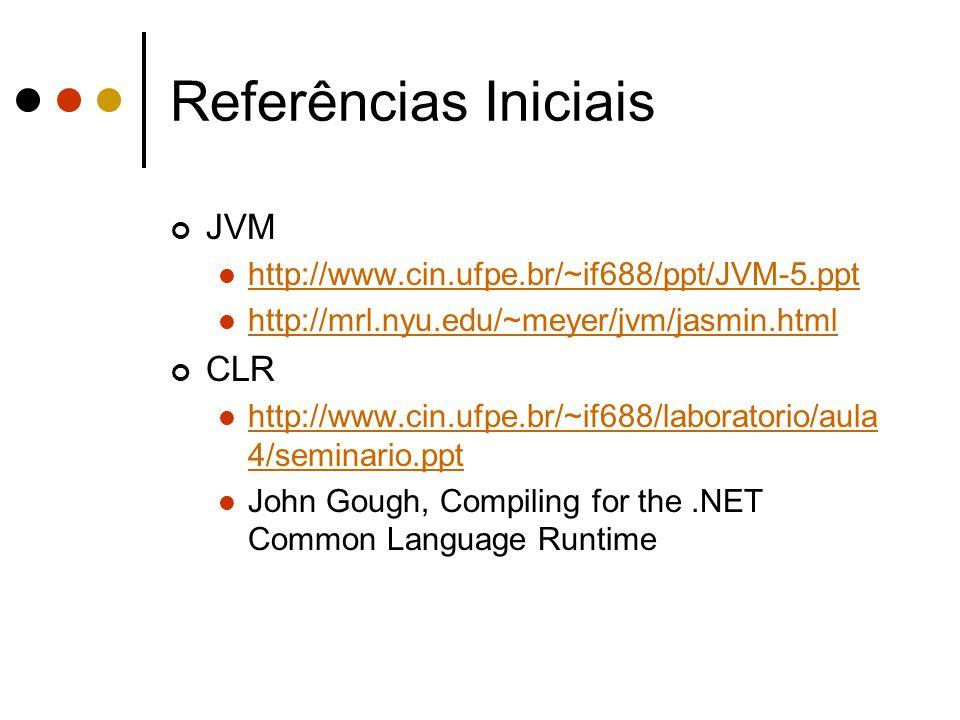 Referências Iniciais JVM http://www.cin.ufpe.br/~if688/ppt/JVM-5.ppt http://mrl.nyu.edu/~meyer/jvm/jasmin.html CLR http://www.cin.ufpe.br/~if688/labor